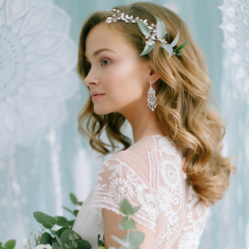 ASTORIA Silver Bridal Headband - Vine with Crystals