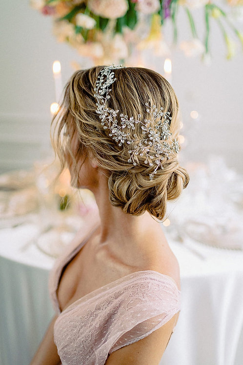 LAMA Crystal Silver Bridal Headband - Hair Vine