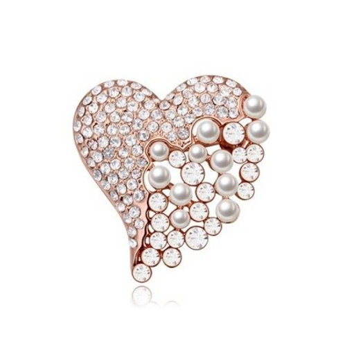 ROSA Crystal Pearl Rose Gold Brooch