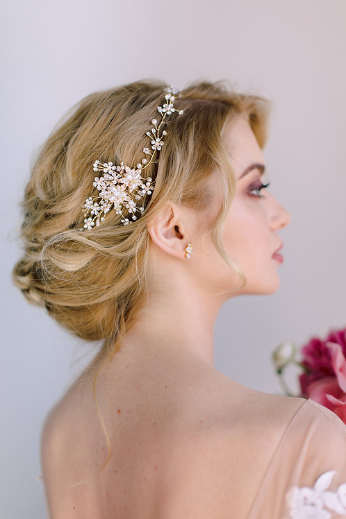 AVERY Antique Gold Floral Boho Style Headband with Pearls & Crystals