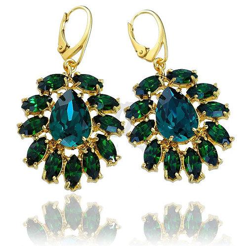AZURE Emerald Gold Vintage Swarovski Crystal Earrings