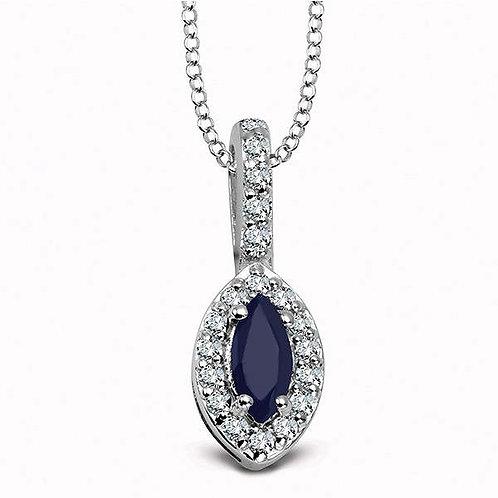 Sapphire with Cubic Zirconia Rhodium-plated Pendant
