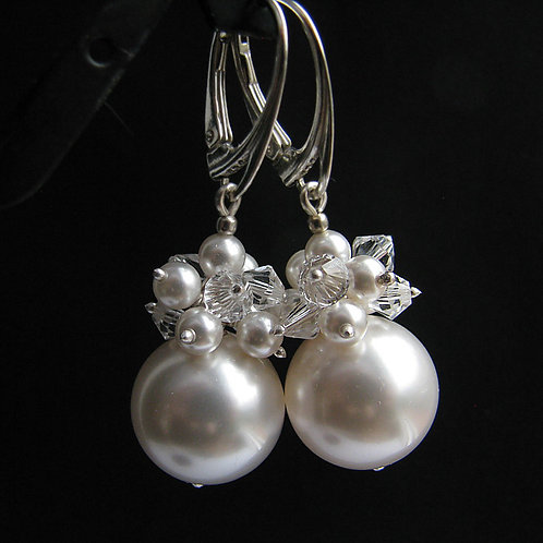 PHOEBE White Swarovski Pearl and Crystal Earrings