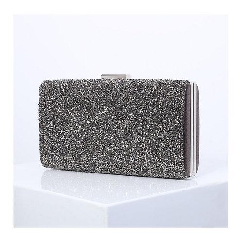MISCARI Black & Navy Blue Sparkle Box Clutch Bag