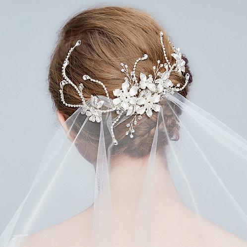 ALYSSA Bouquet Crystal Leaf Bridal Headpiece - Hair Clip