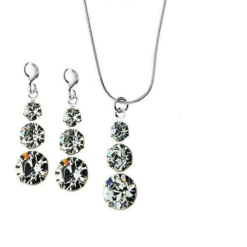 CRYSTAL Transparent Swarovski Necklace with Earring Wedding Set