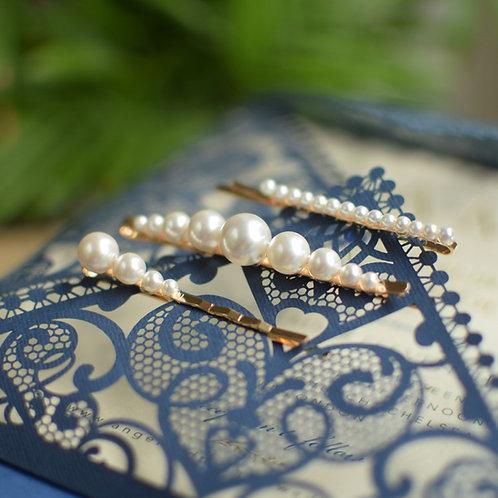 JOLIE Set of Three Wedding Swarovski White Pearl Hair-pins or Individual