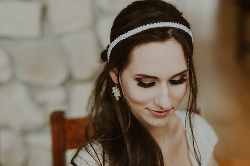 CHARLOTTE Delicate White Beaded Wedding /Communion Headband