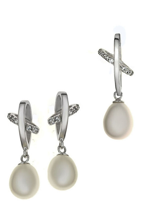 ABRIL Natural Ecru Pearl and Cubic Zirconia Silver Set