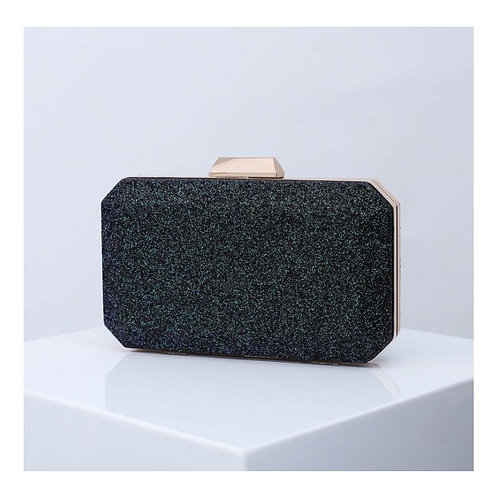 MARIGOLD Black Glitter Box Clutch Bag