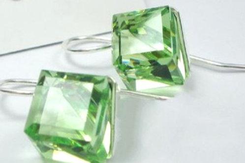 PERIDOT Light Cube Crystal Cut Swarovski Earrings