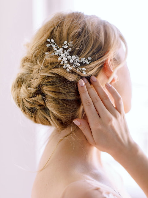 BLUEBELL Classic Vintage Style Pearl and Crystal Bridal Hair Comb