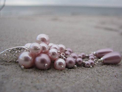ROSALIA Powder Rose Swarovski Pearl Crystal Earrings