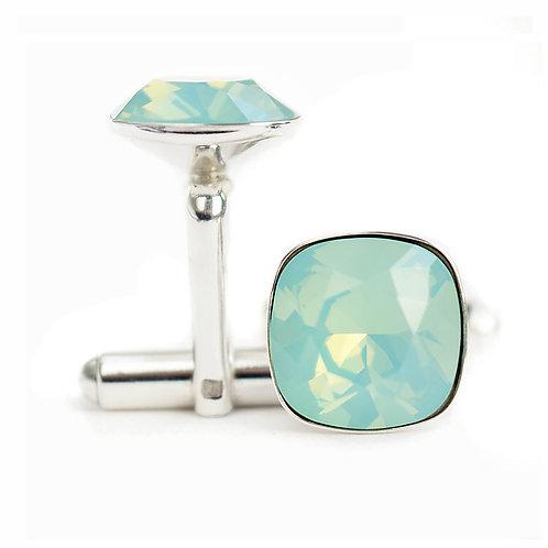 OLIVIER Pacific Opal Square Cushion Cut Wedding Swarovski Crystal Cufflinks