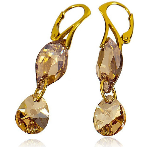 GOLDEN LEAF Armani Earrings with Swarovski crystals