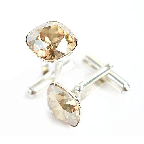 OLIVIER Golden Shadow Square Cushion Cut Wedding Swarovski Crystal Cufflinks