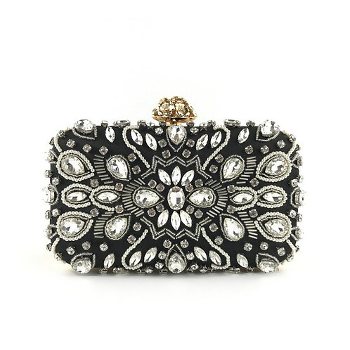 ASTER Modern Vintage Style Black Crystal Clutch Bag