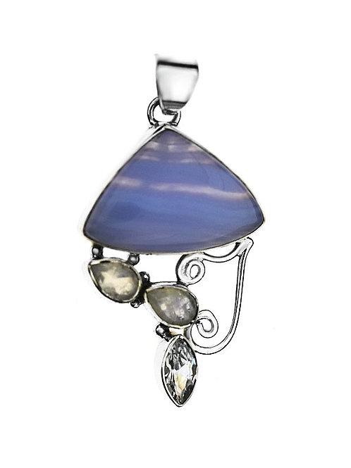 Moonstone & Agate stones Vintage Inspired Silver Elegant Pendant