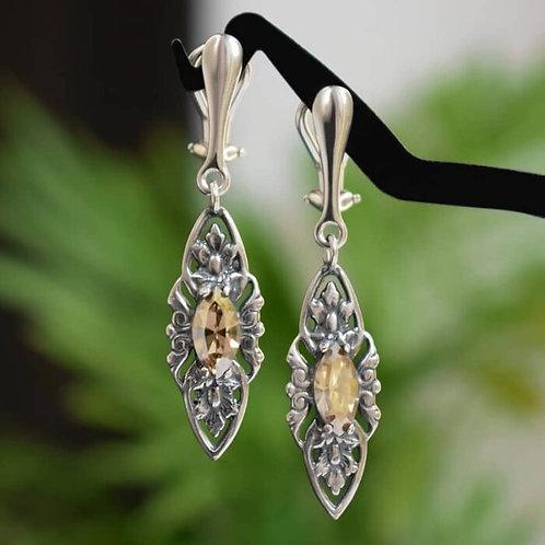 VIENNE Vintage Retro Golden Shadow Swarovski Crystal Earrings