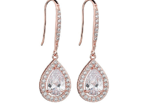 LUCY Rose-Gold Teardrop Crystal Earrings