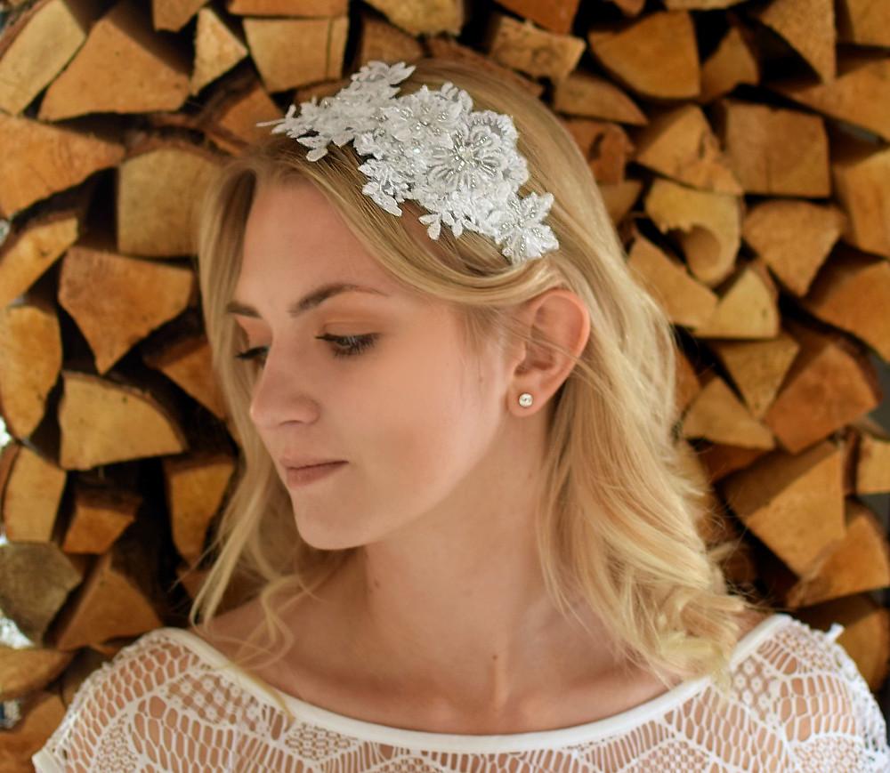 COCO Vintage Embellished Appliqué Wedding Headband - Touch of Venus Jewellery