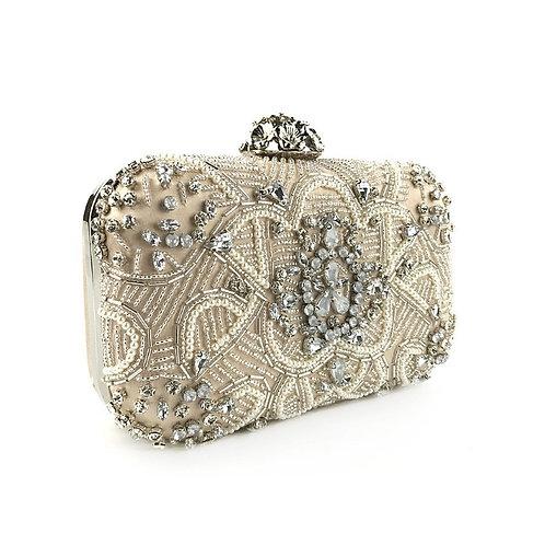 HEATHER Vintage Beige Crystal & Pearl Embellished Box Clutch Bag