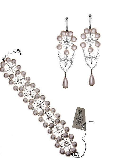 VICTORIA Vintage Swarovski Pearl and Crystal Bracelet and Earrings Set