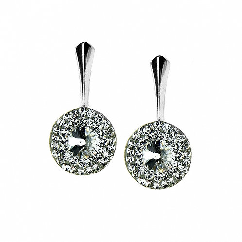 ROUND Crystal White Swarovski Earrings