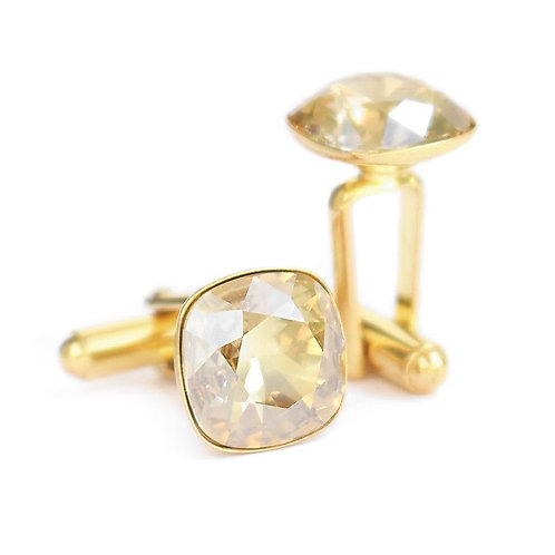 OLIVIER Gold 24ct Golden Shadow Square Cushion Cut Wedding Swarovski Cufflinks