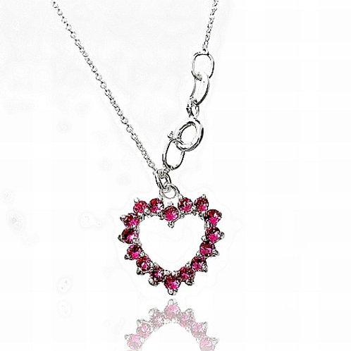 ROSE Heart Silver Swarovski Necklace
