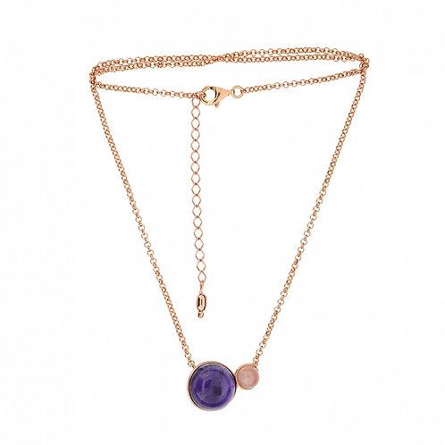 Amethyst & Quartz Gold-plated Modern Necklace