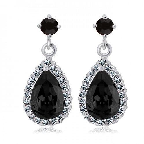 CHANTALE Vintage Black Crystal Teardrop Earrings