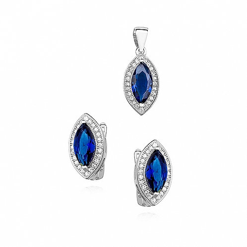 SOPHIA Rhodium-plated Pendant and Earring Crystal Set