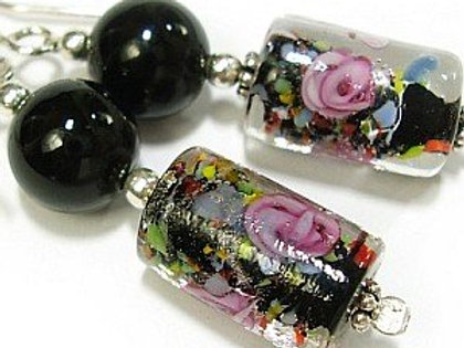 ROSE Venetian Glass with Onyx Silver Earrings