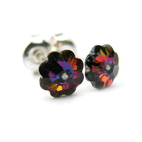 DAISY Volcano Flower Swarovski Earrings