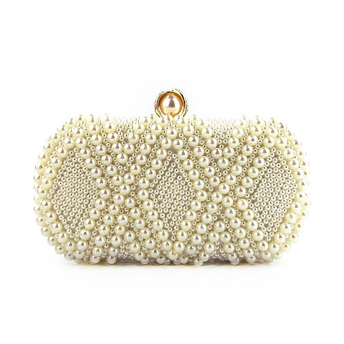 COCO White Pearl Stylish Box Clutch Bag