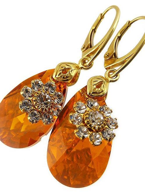TOPAZ Gold Flower Pear Drop Crystal Swarovski Earrings