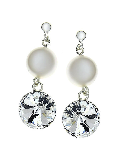 OLIVIA Swarovski White Pearl Drop and Round Crystal Earrings