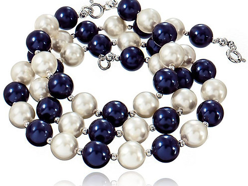 CREMEBLUE Night Swarovski Pearl Necklace, Bracelet & Earrings Set
