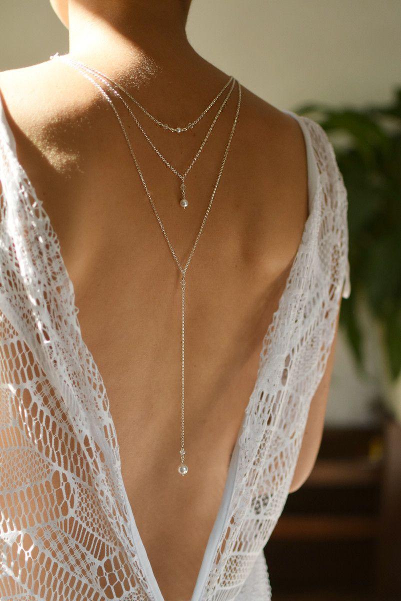 ELIZEE Swarovski White Elegant Backdrop Necklace with White Pearls