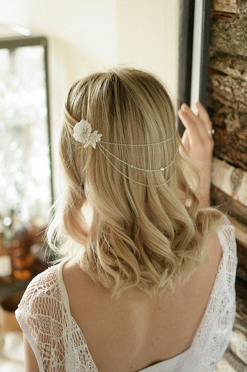 GRACEFUL Embellished Wedding Appliqué Swarovski Crystals/Pearls Hair Comb Drape