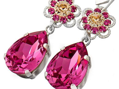 ROSE Flower Crystal Drop Swarovski Earrings