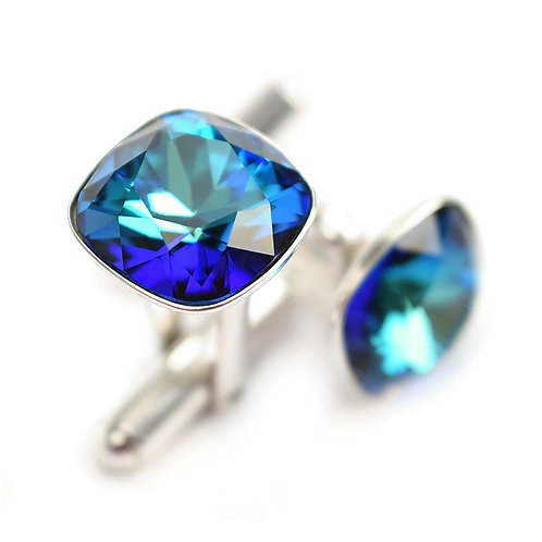 OLIVIER Bermuda Blue Square Cushion Cut Wedding Swarovski Crystal Cufflinks