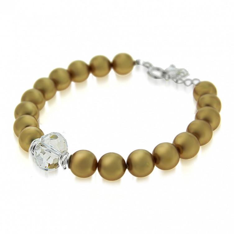 OLD GOLD Swarovski Pearl Crystal Bracelet
