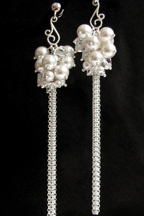 ORLA Boho Style Swarovski White Pearl Crystal Long Earrings 9cm