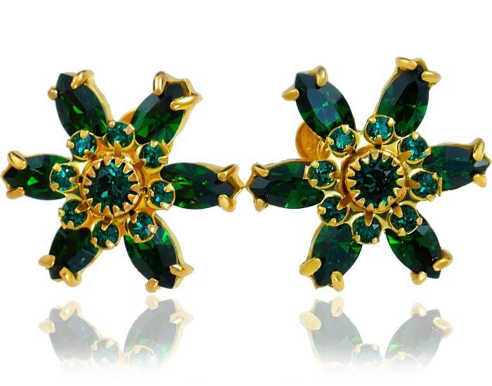 EMERALD Azure Gold Swarovski Earrings
