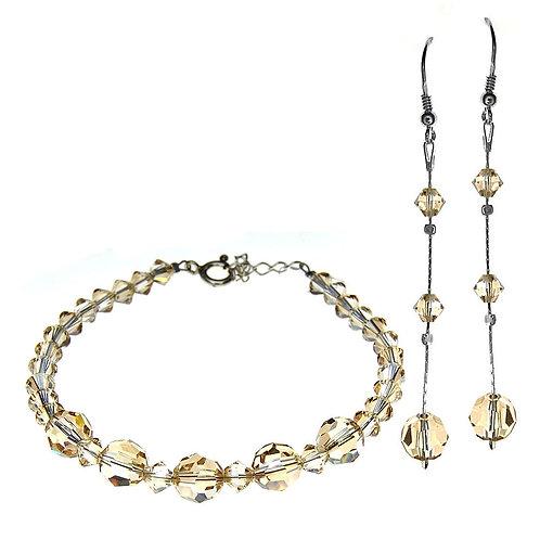 TEAROSE Swarovski Transparent Crystal Bracelet & Earring Set