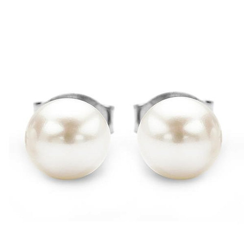 CLASSIC Natural White Pearl Stud Earrings