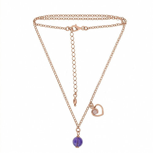 Amethyst & Quartz Gold-plated with Heart Modern Necklace