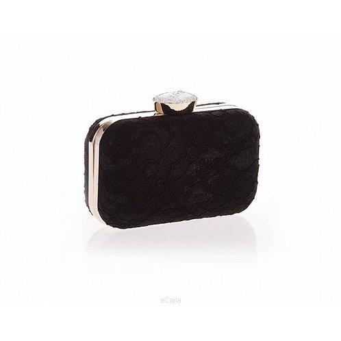 VENETA Vintage Black Lace Crystal Elegant Box Clutch Bag